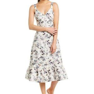 Rebecca Taylor Sofia Floral Linen-Blend Midi Dress
